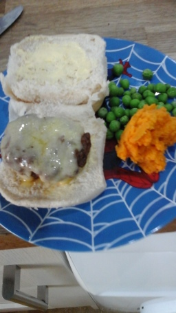 Beef burgers and sweet potato mash